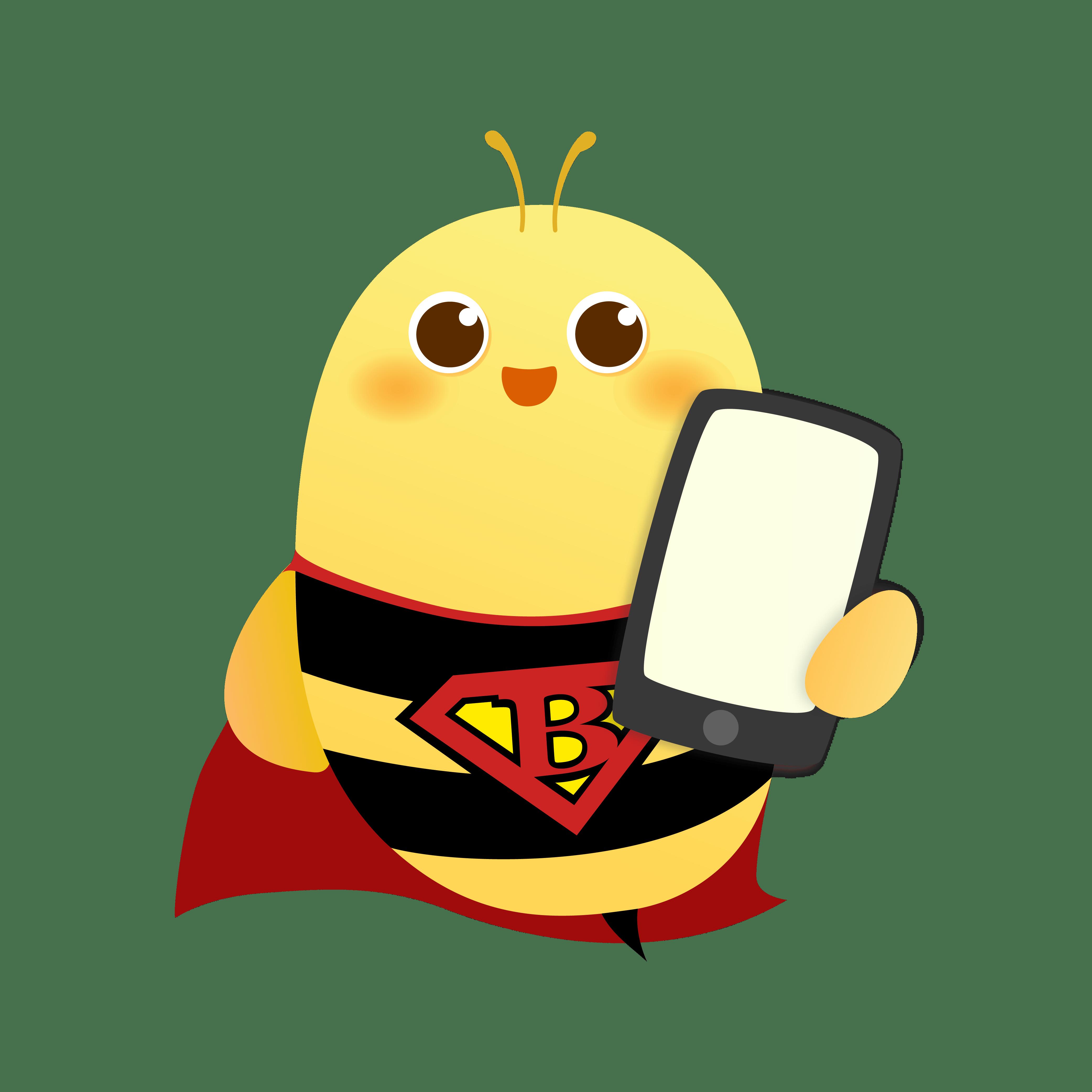 bee mascot holding phone