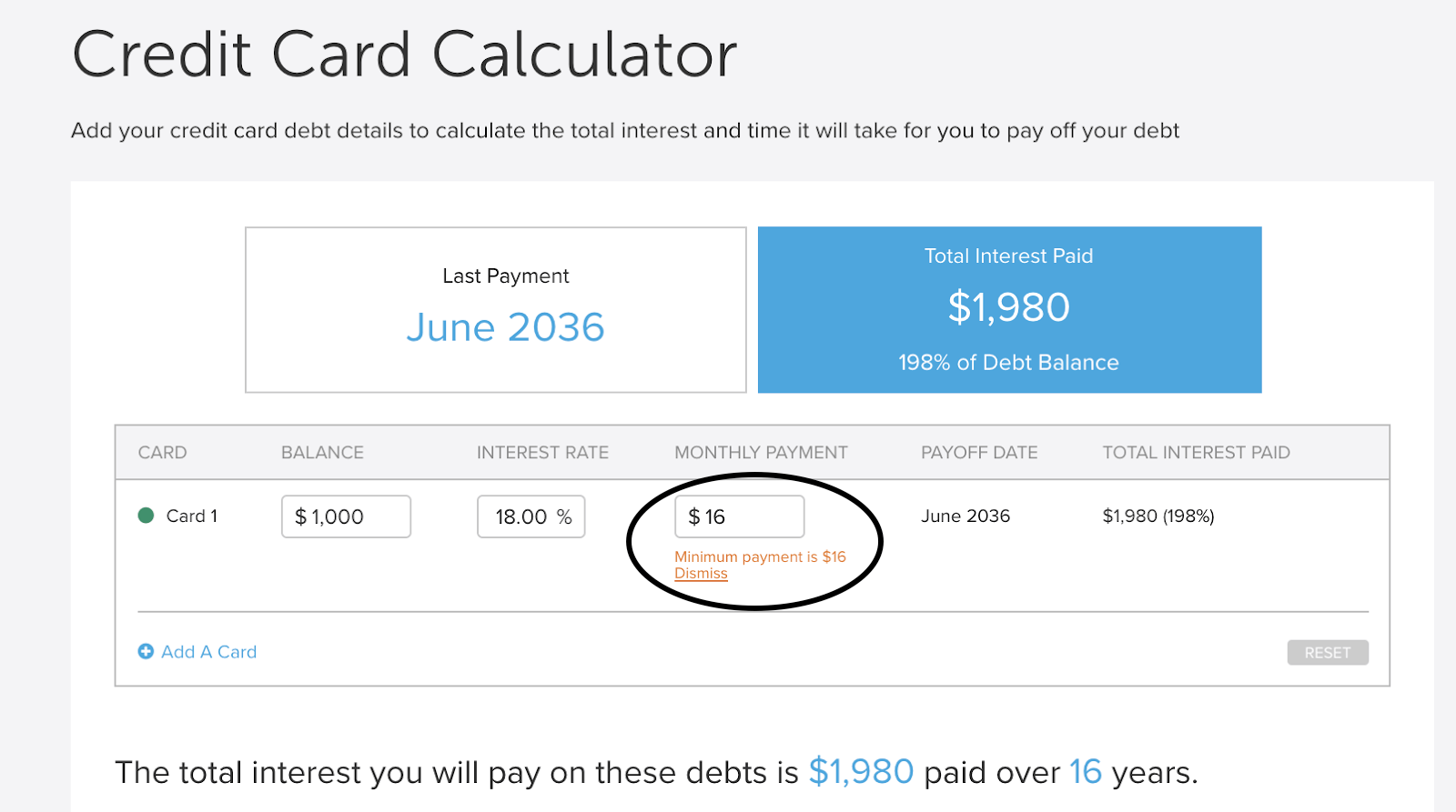 A credit card calculator showing a minimum payment of $16, which means it will take 16 years to pay off the balance.