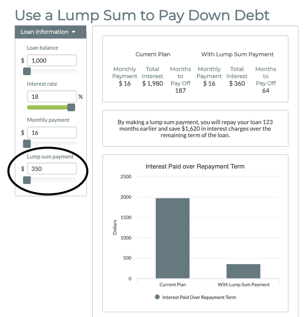 A $350 lump-sum payment helps reduce the time it takes to repay credit card debt of $1,000.